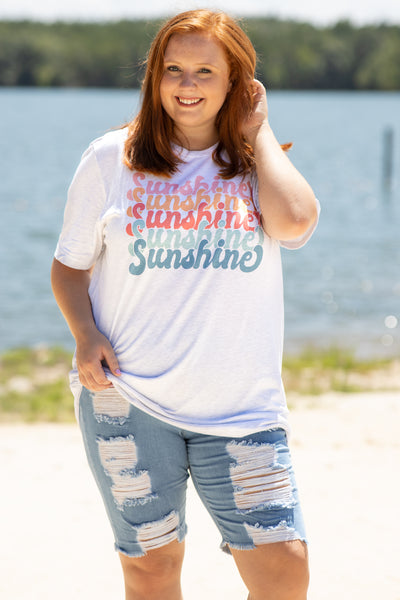 shirt, top, tee graphic tee, ash gray, sunshine, pink, orange, red, blue, loose, comfy