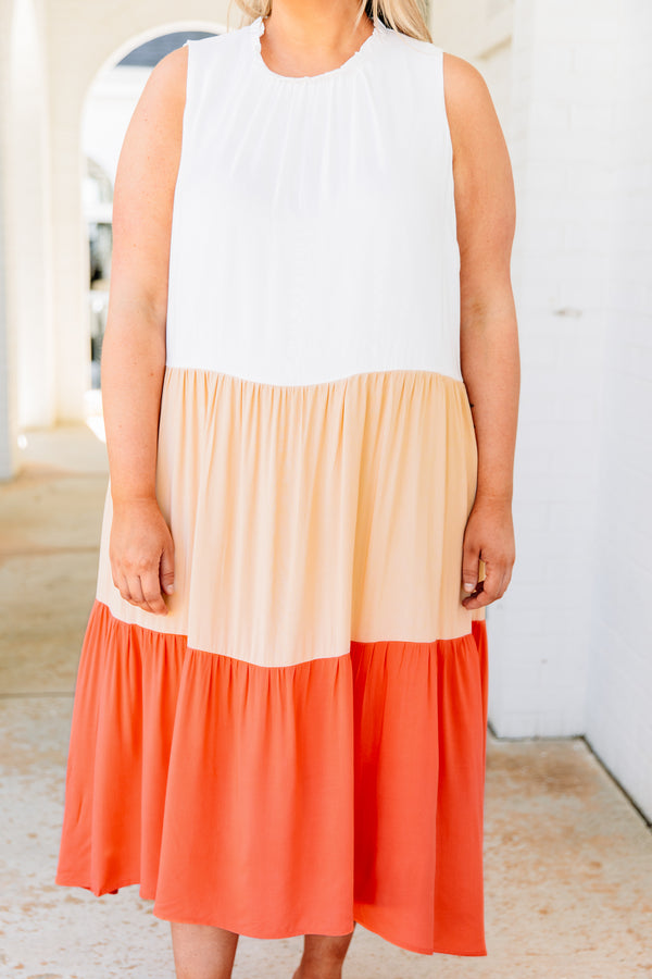 Colors Of The Sunrise Dress, Ivory-Coral