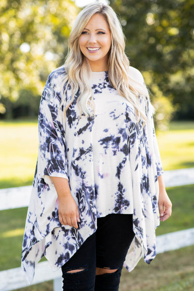 poncho, eggplant, top, flowy, three quarter sleeves, oversized, hemline, tie dye, long, above the knee, comfy