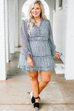 dress, long sleeve, baby doll, patterned, white, blue, ruffles, vneck