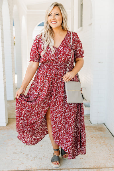 dress, maxi dress, v neck, button front, floral, red, white, loose, comfy, spring, summer