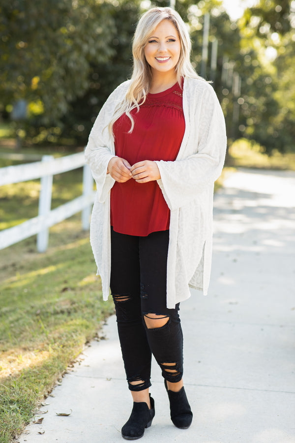 top, cardigan, white, floral, long sleeve, flowy, christmas