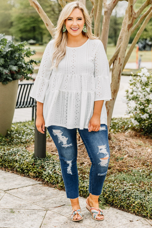 shirt, three quarter sleeve, babydoll, tiered, long, flowy, eyelet lace, white, comfy