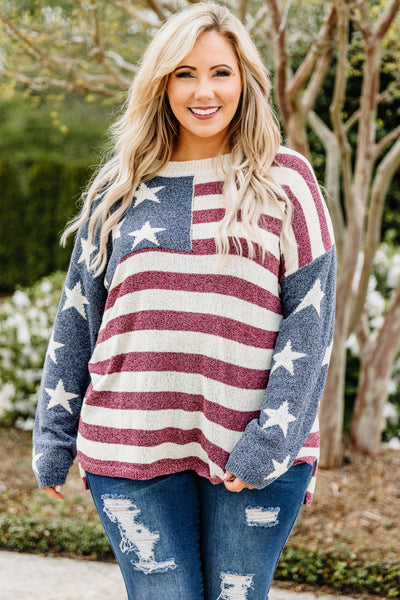 sweater, long sleeve, loose, navy, red, white, stars, stripes, comfy