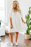 dress, short, short sleeve, scoop neck, babydoll, flowy, white, comfy