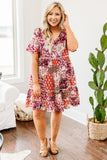 dress, short, short sleeve, vneck, tiered, flowy, mixed floral, fuchsia, red, black, white, green, comfy, spring, summer