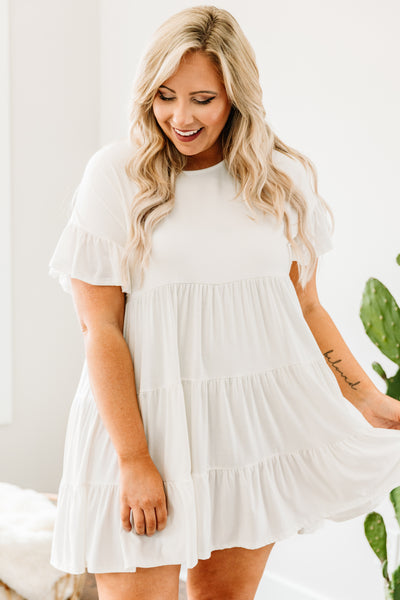 dress, short, short sleeve, ruffle sleeves, babydoll, tiered, ruffles, flowy, white, comfy, spring, summer