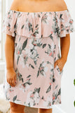 dress, short, short sleeve, off the shoulder, ruffle top, flowy, blush, floral, gray, white, pink, comfy, spring, summer