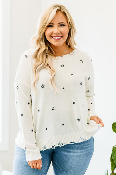 sweater, long sleeve, distressed hem, short, white, stars, black, comfy