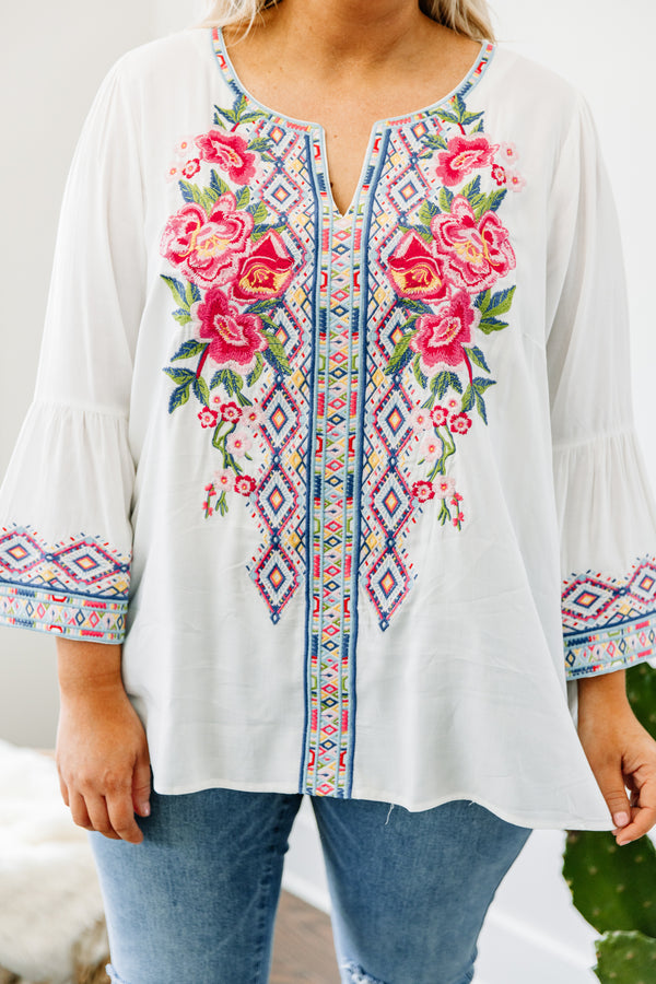 blouse, three quarter sleeve, vneck, bell sleeves, loose, white, embroidery, pink, green, blue, purple, yellow, comfy