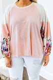 shirt, long sleeve, bubble sleeves, longer back, side slit, blush, white, colorblock, floral, orange, green, blue, black, pink, purple, comfy