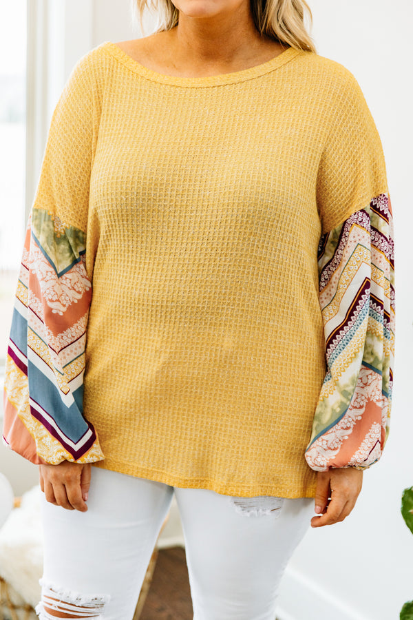 shirt, long sleeve, bubble sleeves, twisted back, waffle knit, mustard, patterned sleeves, orange, green, blue, burgundy, white, comfy