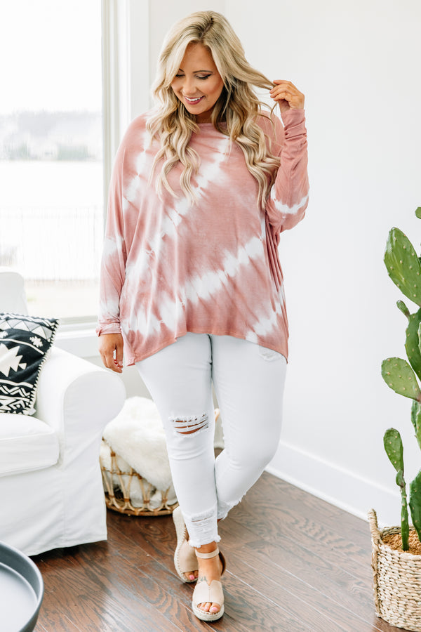 shirt, long sleeve, long back, drapey, form fitting waist, coral, white, tie dye, comfy