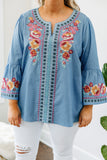 shirt, long sleeve, bell sleeves, loose, long, blue, embroidered, orange, red, white, pink, blue, purple, comfy