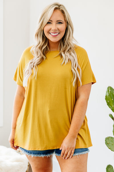 tunic, short sleeve, mustard, comfy, flowy, side slits, long