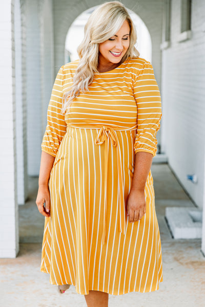 dress, midi, three quarter sleeve, bubble sleeves, tie waist, mustard, white, striped, comfy