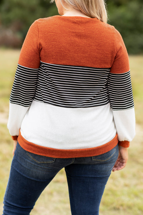 top, casual top, orange, rust, black, white, stripe, colorblock, long sleeve