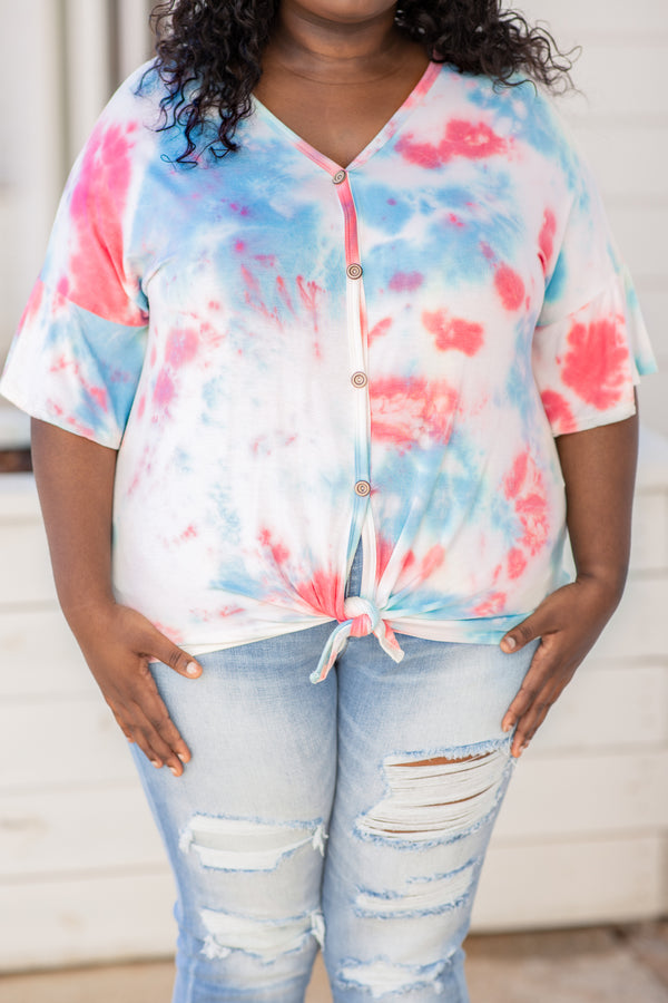 shirt, short sleeve, button front, tie, white, coral. blue, tie dye