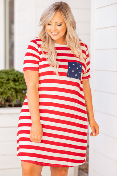 dress, short dress, above the knee, stripes, pocket, stars, cross back detailing, red, white, blue, americana, t shirt dress, comfy