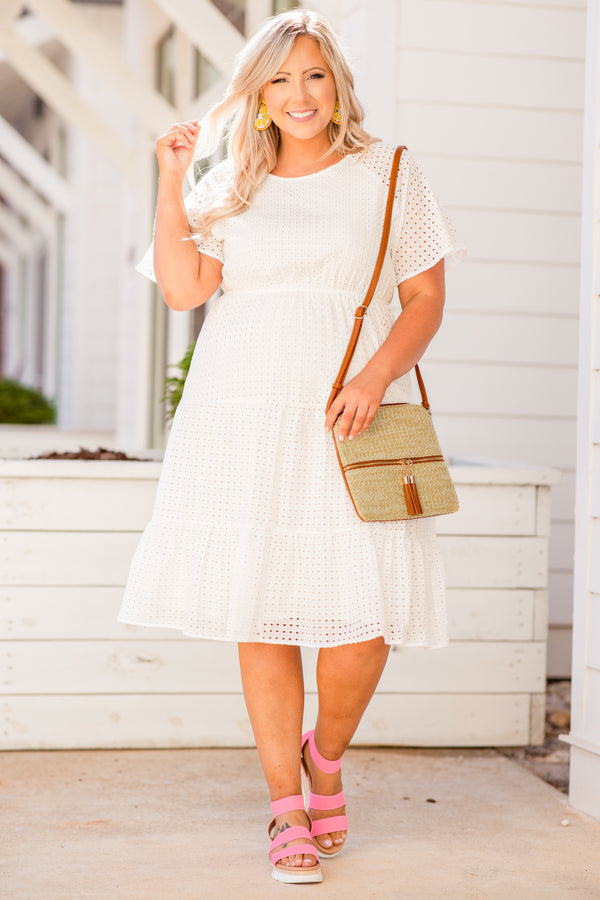 dress, short dress, knee length, white, defined waist, short sleeve, eyelet, dots