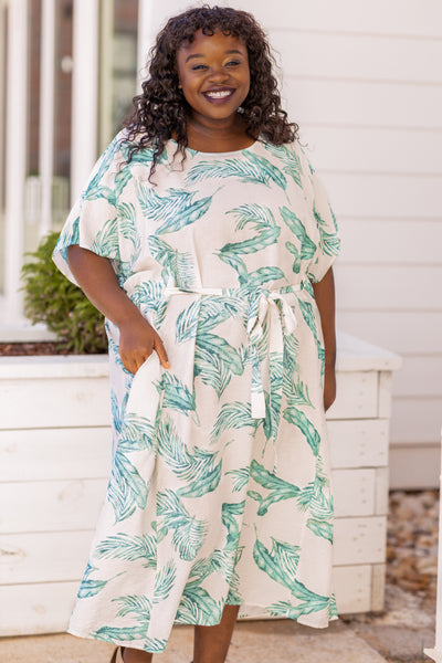 dress, midi dress, tie waist, ivory, green, short sleeve, loose, comfy, tropical print