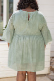 dress, short dress, eyelet, textured, sage. bell sleeves, three quarter sleeves, loose, comfy