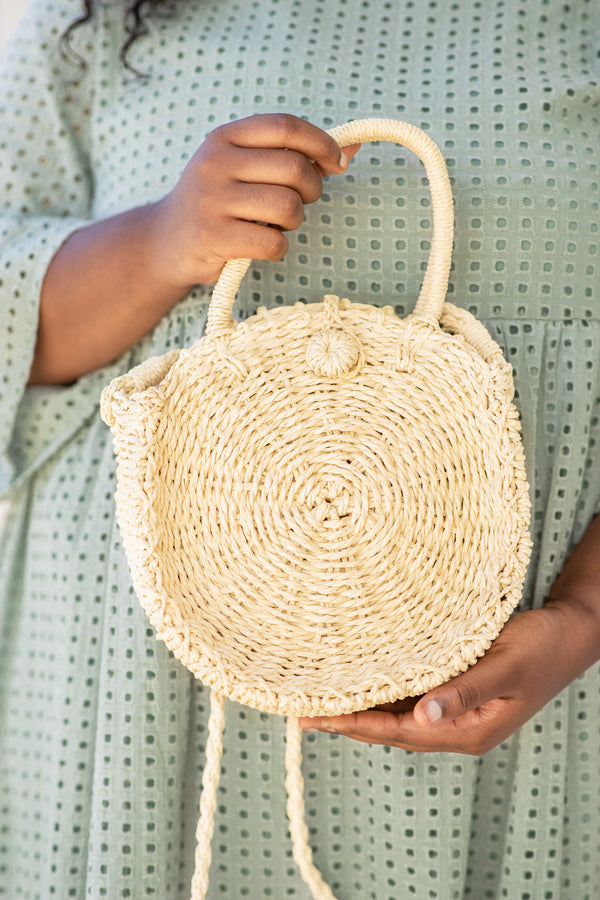 bag, cross body, wicker, ivory, circle, handle, shoulder strap, spring, summer
