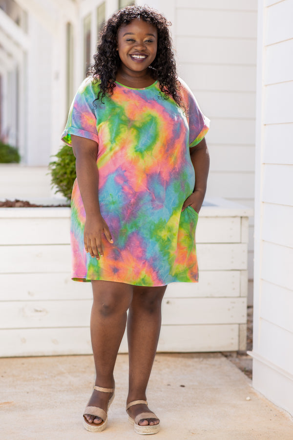 dress, short dress, tie dye, short sleeve, cuffed sleeves, multi color, pink, green, blue, purple, yellow, loose, comfy