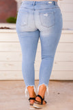 jeans, skinny jeans, long, cropped, distressed, raw hem, tears, light wash