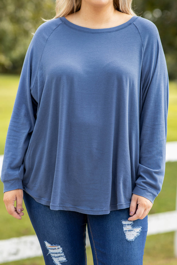 blue, solid, indy blue, long sleeve, slouchy, top, comfy, figure flattering, flowy