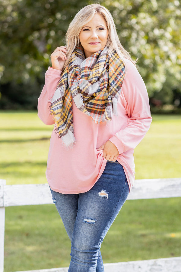 slouchy, top, long sleeve, dusty pink, solid, comfy, flowy, figure flattering