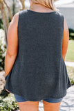 tank, thick straps, scoop neck, loose, waffle knit, charcoal, comfy, spring, summer
