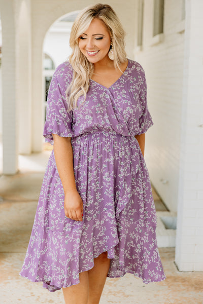 dress, short, short sleeve, vneck, ruffle sleeves, asymmetrical hemline, cinched waist, flowy, wrap top, purple, floral, white, green, blue, comfy, spring, summer