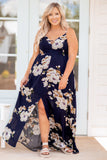 dress, maxi dress, long, front flit, v neck, back cutout, floral. navy, pink, spring, summer