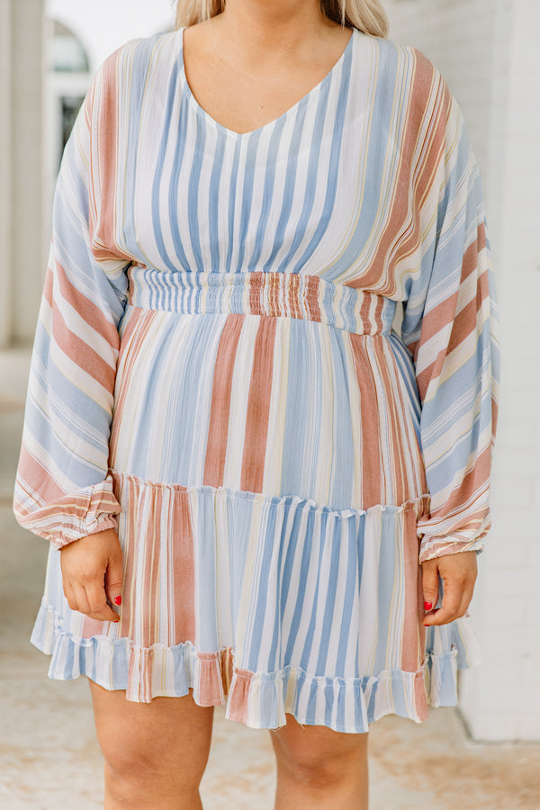 dress, short, long sleeve, vneck, ruched waistline, ruffle details, flowy, white, blue, orange, striped, comfy