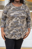 shirt, top, three quarter sleeve, camo, dusty camo, loose, comfy, curved hem