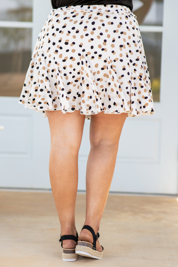 skirt, above the knee, loose, flowy, leopard, ivory, brown, black, drawstring waist
