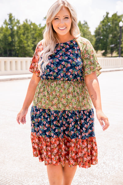 dress, short dress, knee length, color bloack, floral, navy, sage, rust, pink, short sleeve, loose, comfy