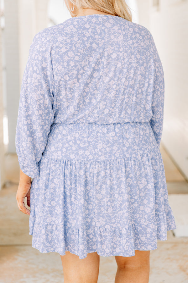 dress, short, three quarter sleeve, bubble sleeve, vneck, cinched waist, flowy, blue, floral, white, comfy