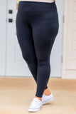 leggings, midnight navy, blue, tight, athleisure, long, ankle length
