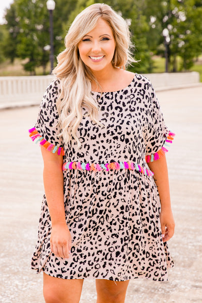 dress, short dress, leopard, beige, black, tassel ham sleeves, short sleeves, tassel waistline, colorful tassels, loose, comfy
