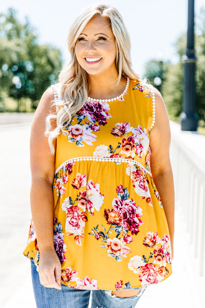 tank, thick straps, babydoll, curved hem, long, flowy, mustard, floral, white, red, green, pompom details, comfy, spring, summer