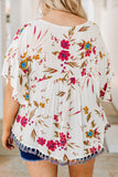 shirt, short sleeve, ruffle sleeves, vneck, babydoll, tassel hem, flowy, white, floral, red, green, blue, comfy