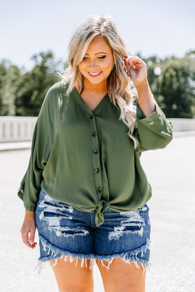 shirt, long sleeve, button front, tie front, v neck, green