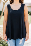 tank, thick straps, scoop neck, loose, waffle knit, black, comfy, spring, summer
