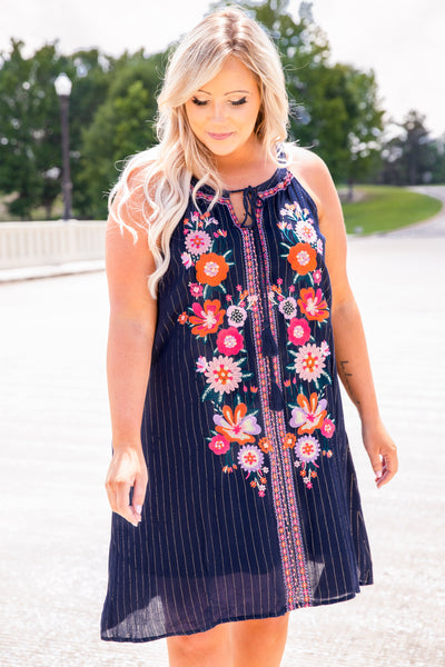 dress, short, navy, embroidered, floral, pink, orange, striped, sleeveless, summer, spring