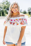 shirt, short sleeve, off the shoulder, off white, embroidered ruffle, pink, orange, blue, spring, summer. loose, comfy