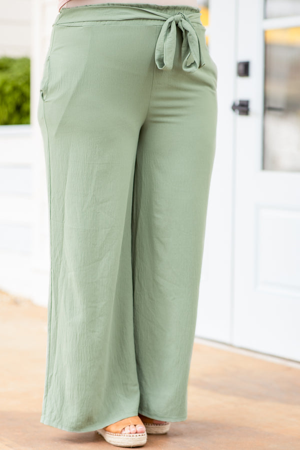 pants, long, tie waist, sage, green, loose, comfy, summer, spring