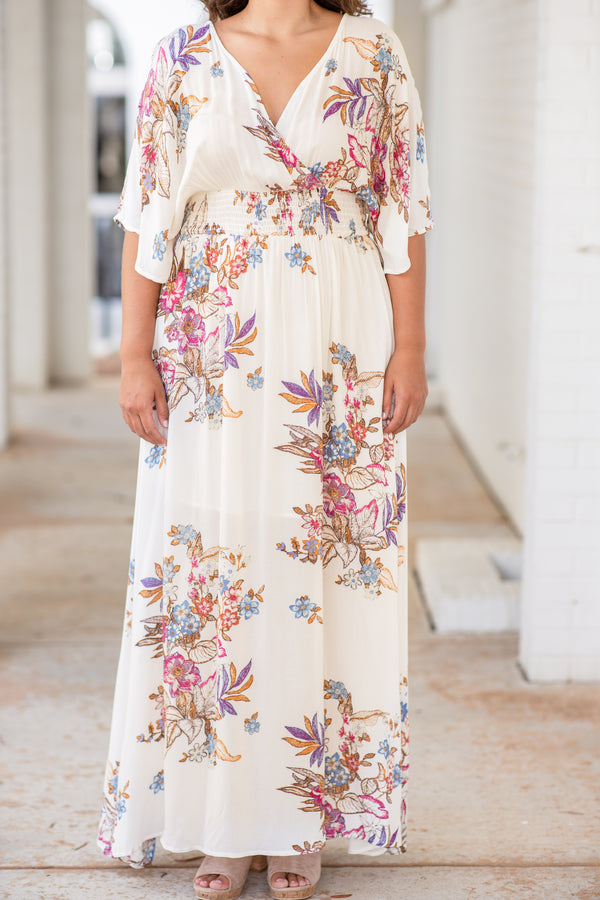 dress, maxi dress, long, floor length, wrap top, v neck, short sleeve, floral, off white, pink, blue, loose, comfy, spring, summer