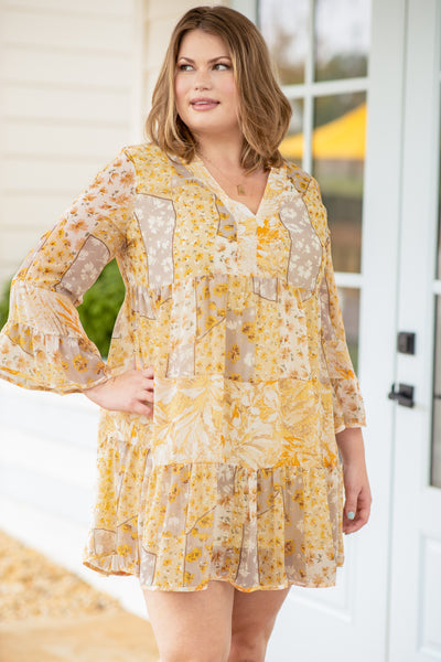 dress, short dress, above the knee, three quarter sleeve, mixed prints, color block, floral, latte, yellow, v neck, loose, comfy
